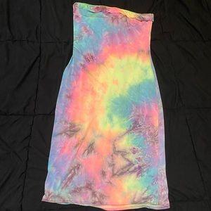 Fashion Nova Tie Dye Tube Dress Size Small